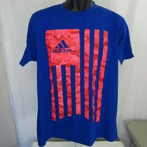 Adidas US Flag T-Shirt Blue with Red Print Men's L